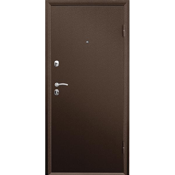 Металлическая дверь ПРАКТИК MDF (2066х880мм) толщина 108мм, цвет: Медный антик, Орех премиум